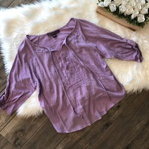 Gloria Vanderbilt Purple Spring Top